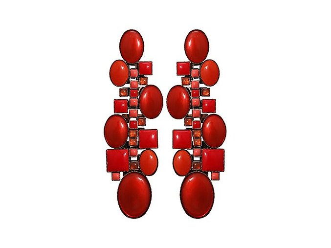 Checks Oval - červená Náušnice > Puzety - 5450543290676