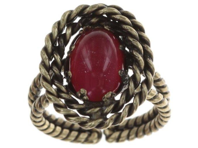 Twisted Lady - červená Prsteny - 5450543294209