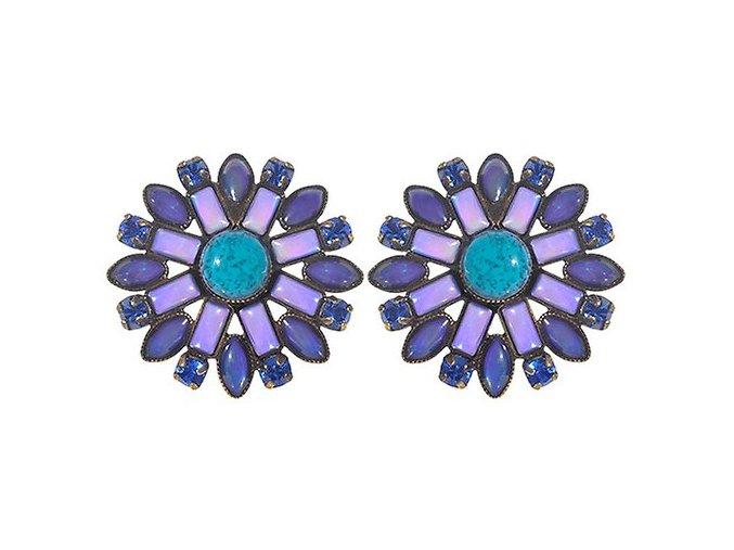Ethnic Mosaic - modrá/zelená Náušnice > Puzety - 5450543104447