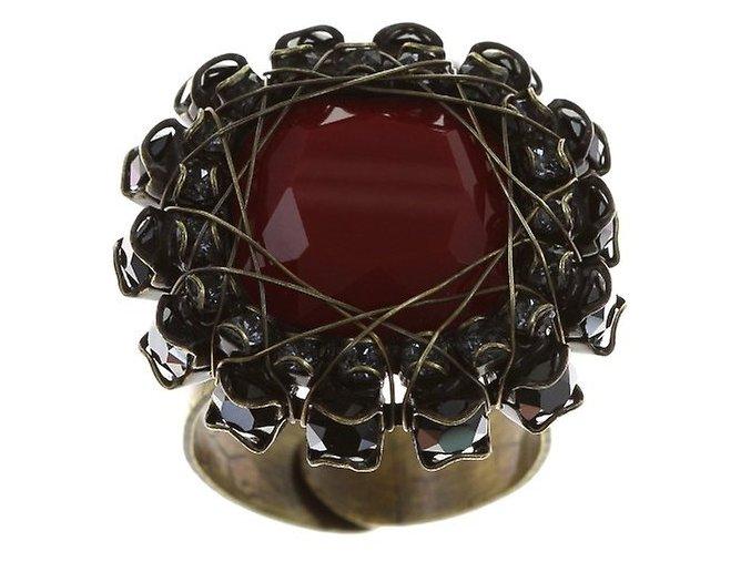 Queen of Elves - černá/červená Prsteny - 5450543162782