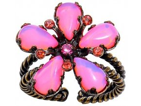 Twisted Flower - červená Prsteny - 5450527974370