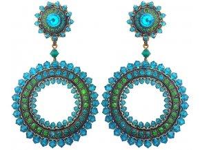 Maharani - modrá/zelená Náušnice > Klipsy - 5450543076133