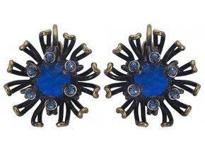Chrysanthemum - modrá Náušnice > Klasickézapínání - 5450543078649