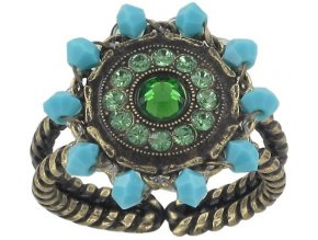 Maharani - modrá/zelená Prsteny - 5450543085494