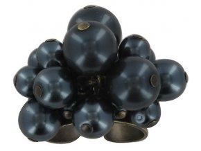 Pearls and Tubes - černá Prsteny - 5450527986748