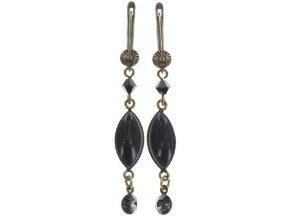Dangling Navette - černá/modrá Náušnice > Francouzské zapínaní - 5450543279039