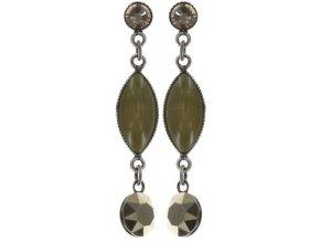 Dangling Navette - zelená/šedivá Náušnice > Puzety - 5450543294704