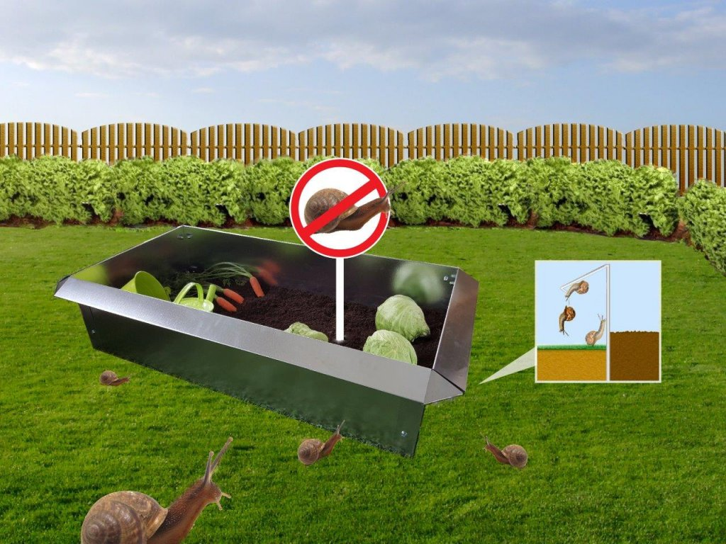 Záhon proti slimákům pozinkovaný plech, Kovotvar