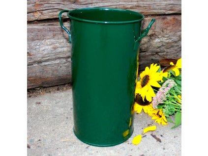 Váza válcová tmavě zelená 35 cm