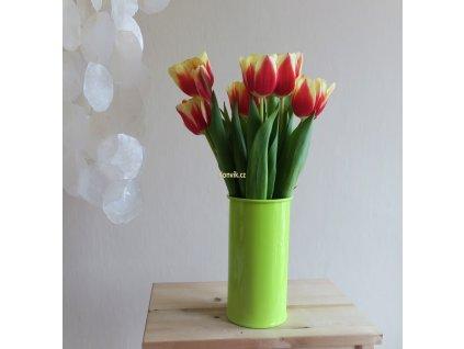 Váza malá zelenkavá bezucha květiny