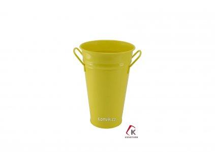 Váza kónická žlutá 30 cm pozinkovaná