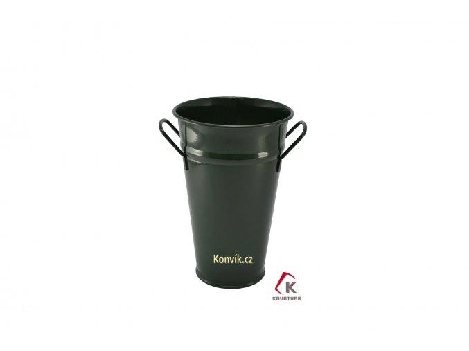 Váza kónická tmavě zelená 30 cm pozinkovaná