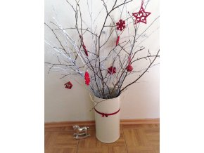 Váza válcová bílá vánoce