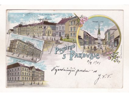 Pardubice litografie 4 okénka barevná škola kasárna DA RU 2a