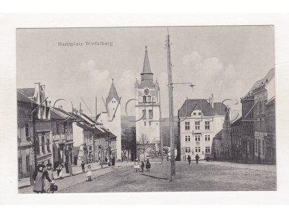 Vimperk náměstí kostel lidé ČB světlotisk Dr. Trenkler Co. No. 1c 1a