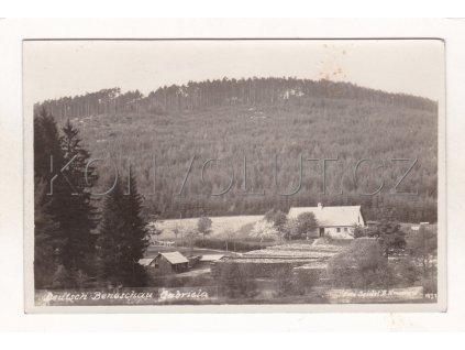 Benešov nad Černou vila hostinec Gabriela Šumava ČB foto J. Seidel Deutsch Beneschau Filatelie 1927 1a
