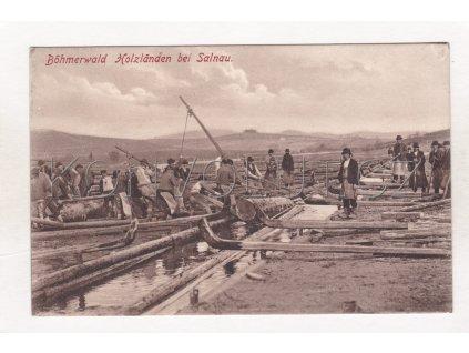 Želnava Salnau plavení dřeva ČB světlotisk foto J. Seidel č. 235 1909 1a
