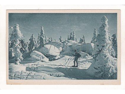 Plechý Plešný zimní nálada lyžař ČB hlubotisk modrá tónovaná foto J. Seidel č. 1358 1a
