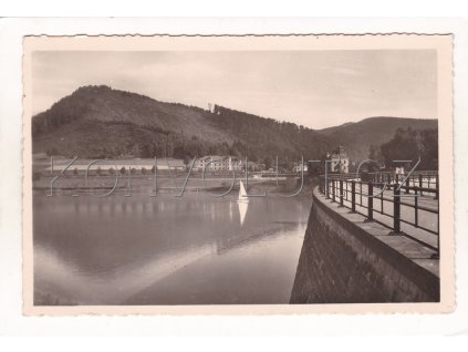 Bystřička Růžďka přehrada Vsetín plachetnice ČB foto Bittner Vidče 1a