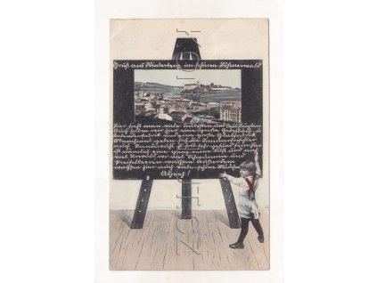 Vimperk barevná koláž tabule RU KuK náklad A. Hollub 1906 1a