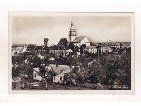 Žďár nad Sázavou částečný pohled kostel domky Město Žďár ČB foto Bromografia č. 14856 nákl. J. Toman 29a