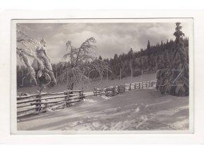 Nové Město na Moravě ČB foto zimní krajina poštovna razítko Harusův Kopec nákl. a foto Grafo Čuda Holi 19a