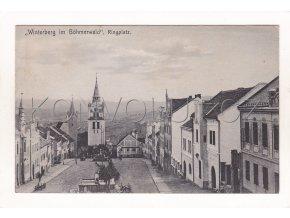 Vimperk náměstí kostel ČB světlotisk Albert Hollub 1a