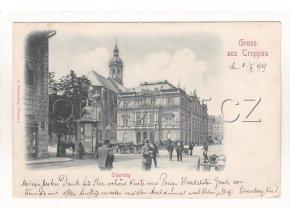 Opava Troppau Oberring Horní náměstí kočár trh DA 1a
