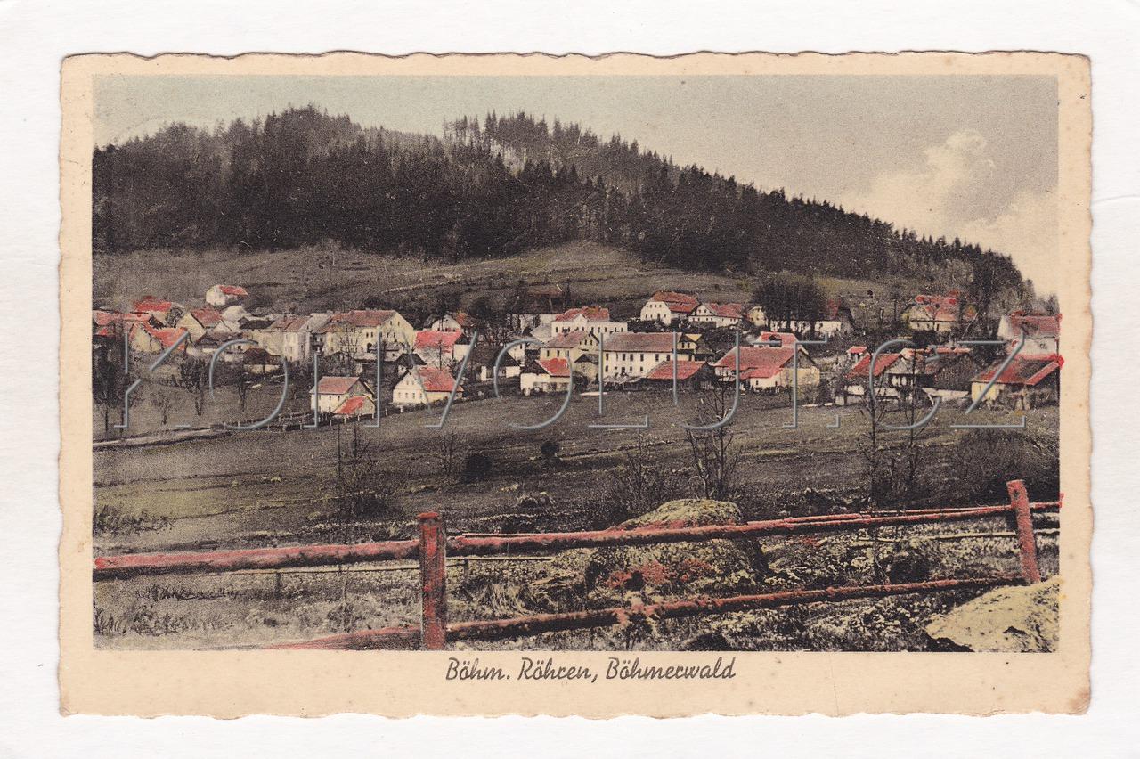 Obrázek  ČESKÉ ŽLEBY (BÖHMISCHE RÖHREN) - okres Prachatice, Šumava, celkový pohled, barevný světlotisk, foto J. Beck, MF