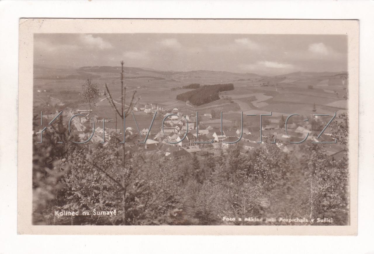 Obrázek  KOLINEC - okres Klatovy, Šumava, Pošumaví, celkový pohled ČB foto a náklad J. Pospíchal, MF