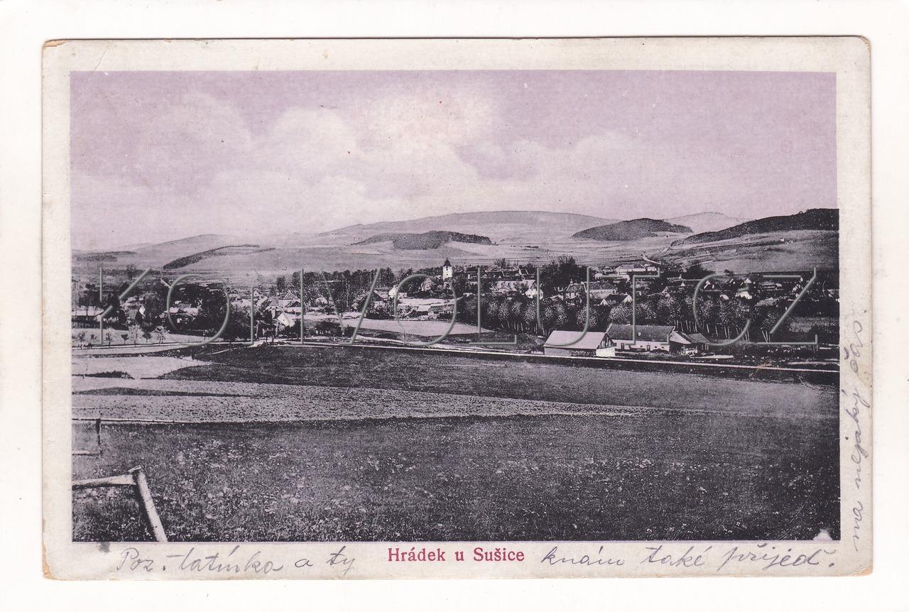 Obrázek  HRÁDEK U SUŠICE - okres Klatovy, Šumava, Pošumaví, ČB hlubotisk, modrá-tónovaná, č. 5048a, nákl. Alois Kubát (Alois Saxl), MF