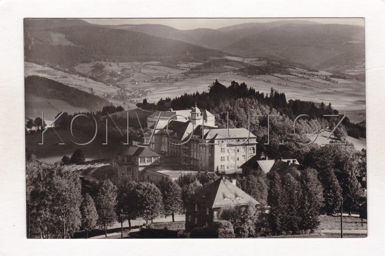 Obrázek  JESENÍK LÁZNĚ (GRÄFENBERG) - okres Jeseník, lázeňská budova, pohled do údolí, Jeseníky, ČB foto Orbis, Filatelie, MF
