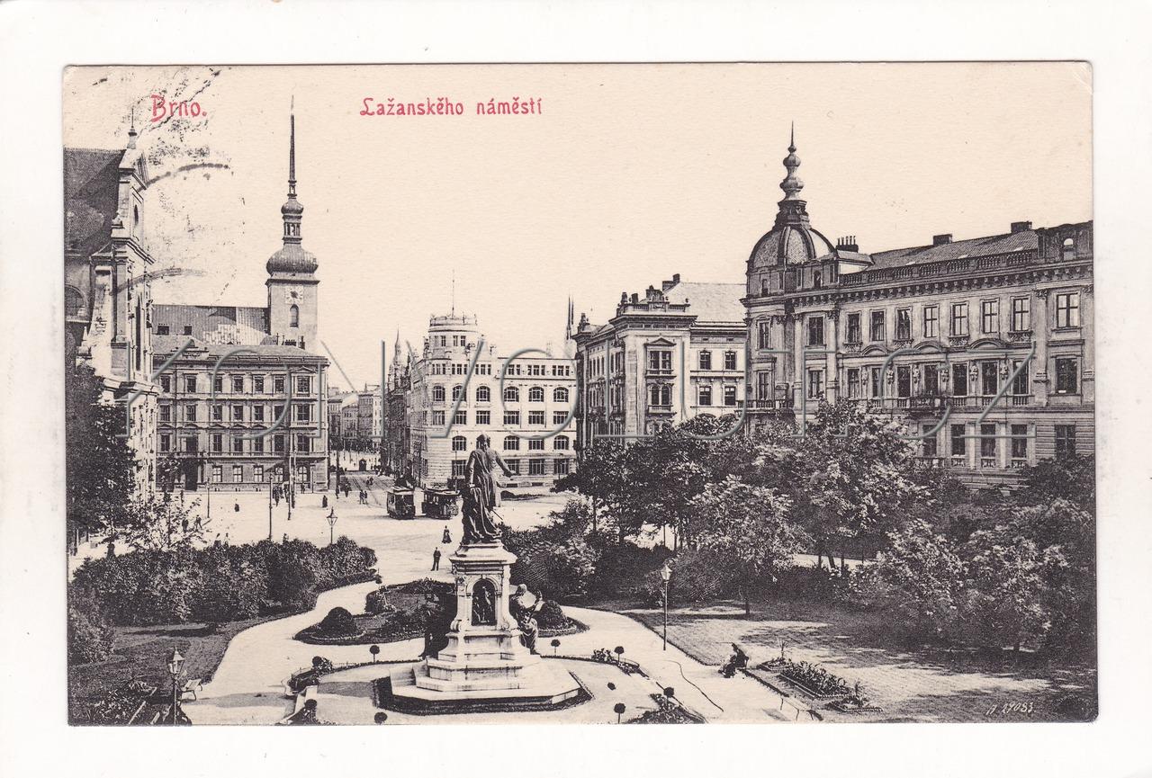 Obrázek  BRNO - okres Brno-město, Lažanského náměstí, architektura, socha, ČB světlotisk, šedivka, H. S. B. č. 1610 K-1907, RU, KuK, MF