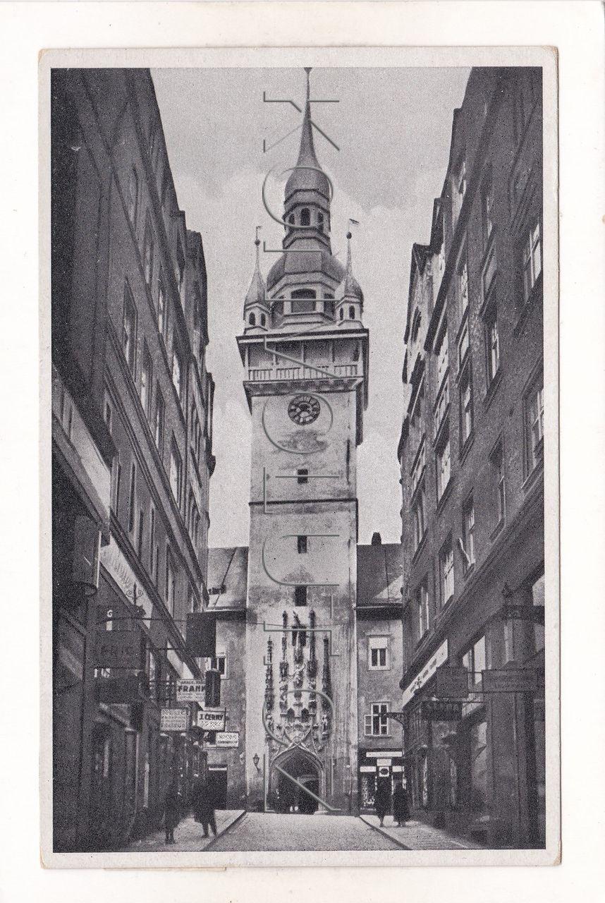 Obrázek  BRNO - okres Brno-město, stará radnice, věž, ulice, obchod, ČB hlubotisk, MF