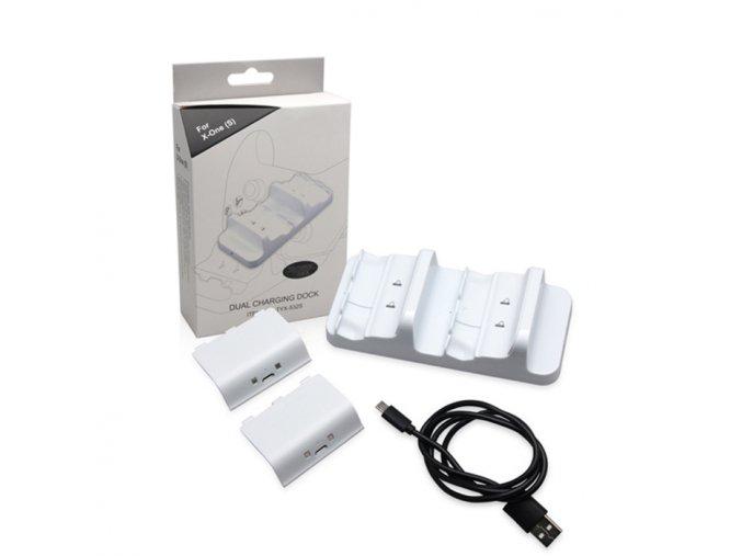 Xbox One S Duální nabíjecí stanice + baterie bilá