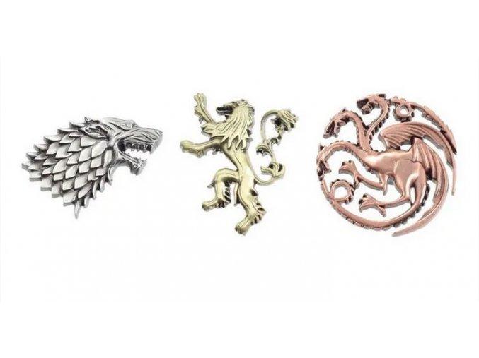 Sada odznaků Game of Thrones - Erby, 3 ks