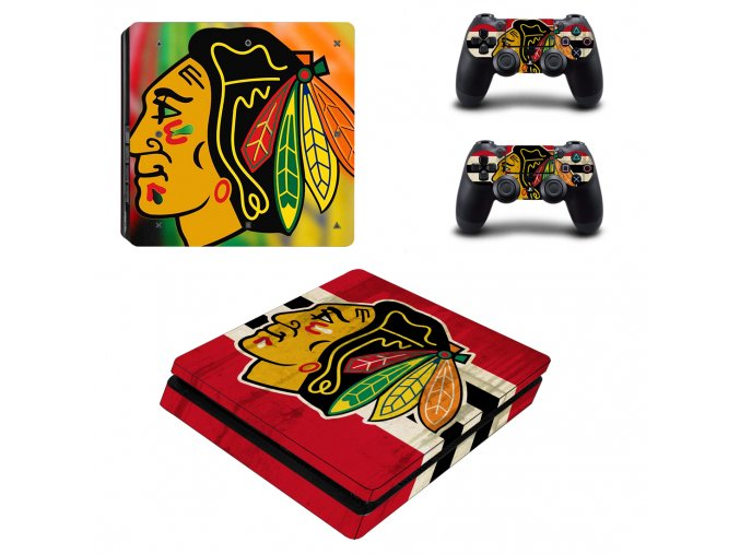 PS4 Slim Polep Skin Chicago Blackhawks