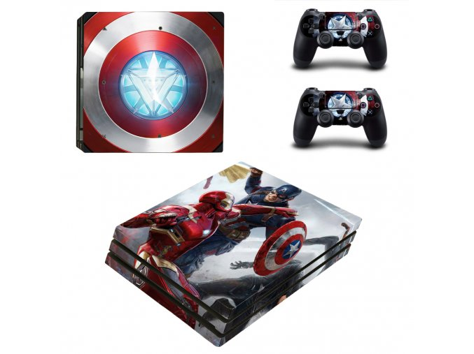 PS4 Pro Polep Skin Captain America vs Iron Man
