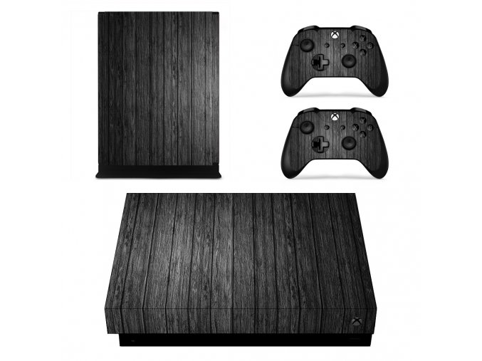 Xbox One X Polep Skin Black Wood