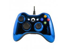 Xbox 360 ovladač drátový Blue Chrome