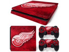 PS4 Slim Polep Skin Detroit Red Wings