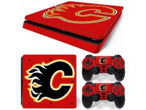 PS4 Slim Polep Skin Calgary Flames