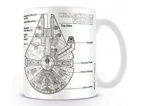 Hrnek Star Wars Millennium Falcon Sketch