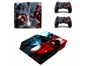 PS4 Pro Polep Skin Captain America vs Iron Man