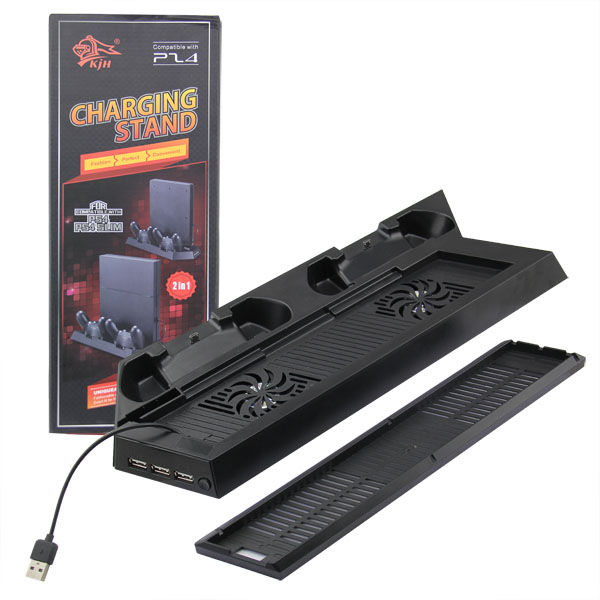 Vertikální nabíjecí USB stojan s chlazením PS4 a PS4 Slim