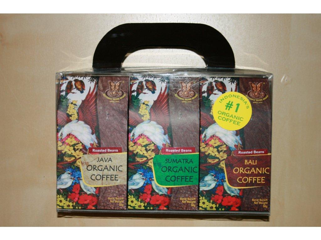 Dárková kazeta 3x50g BIO káva Java, Sumatra, Bali