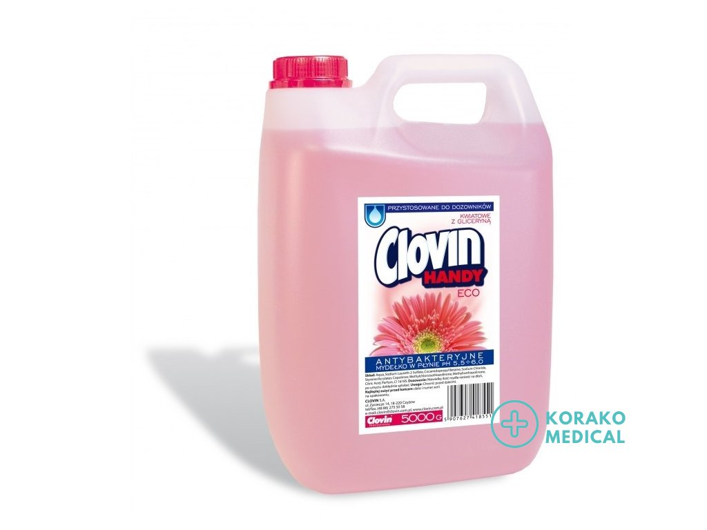 Clovin Handy ECO Tekuté mydlo s antibakteriálnym účinkom s glycerínom Kvety 5l