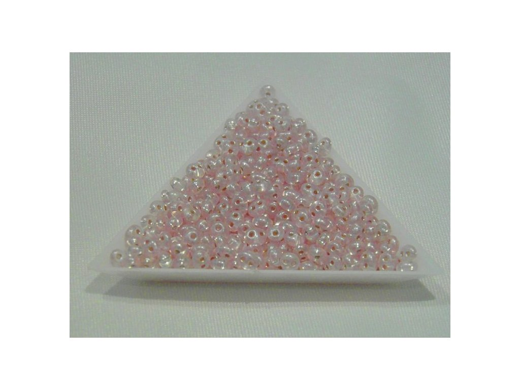 Korálky PRECIOSA Twin™ -  světle růžová se stříbrným dekorem