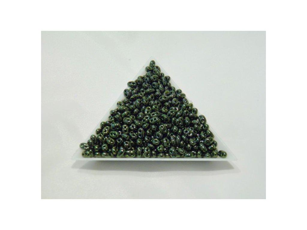 Korálky PRECIOSA Twin™ - tmavě zelený 49055