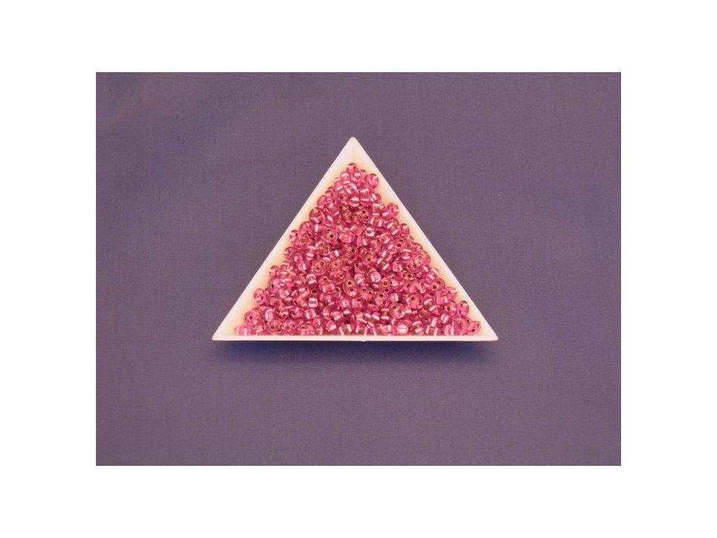 Korálky PRECIOSA Twin™ - růžově barvený krystal se stříbrným průtahem B7715